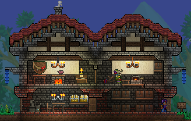 Pc my new terraria 1 3 world terraria community forums for Terraria house designs