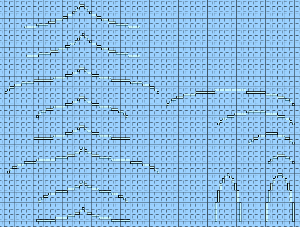 A set of examples of roof lines based (sometimes loosely) on a Fibonacci series) from the Terraria forums.