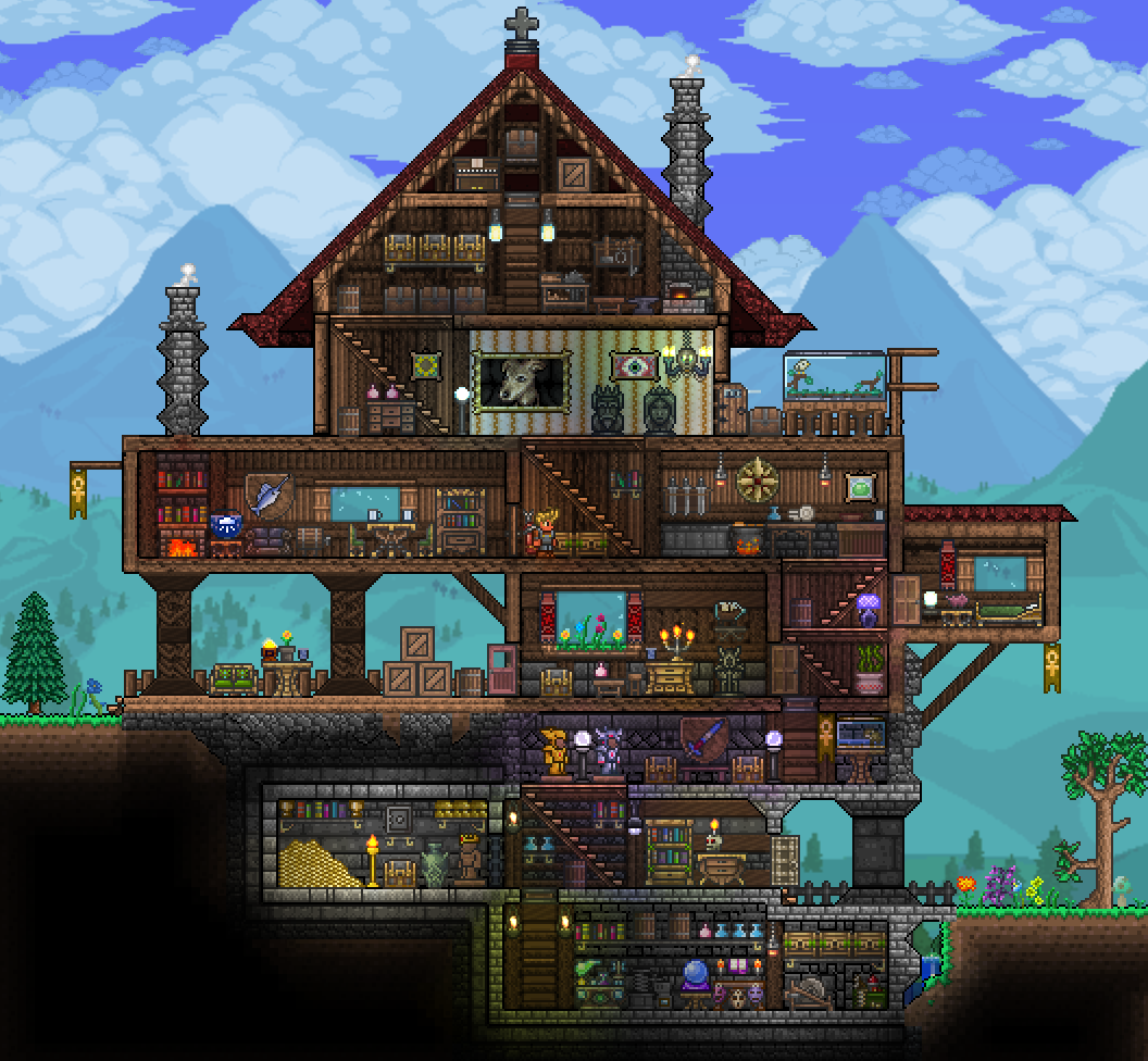 Pc ballin 39 houses by eiv page 5 terraria community for Terraria house designs