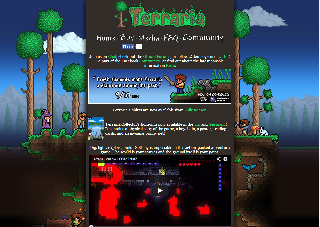 Official the new terraria website is now live terraria community