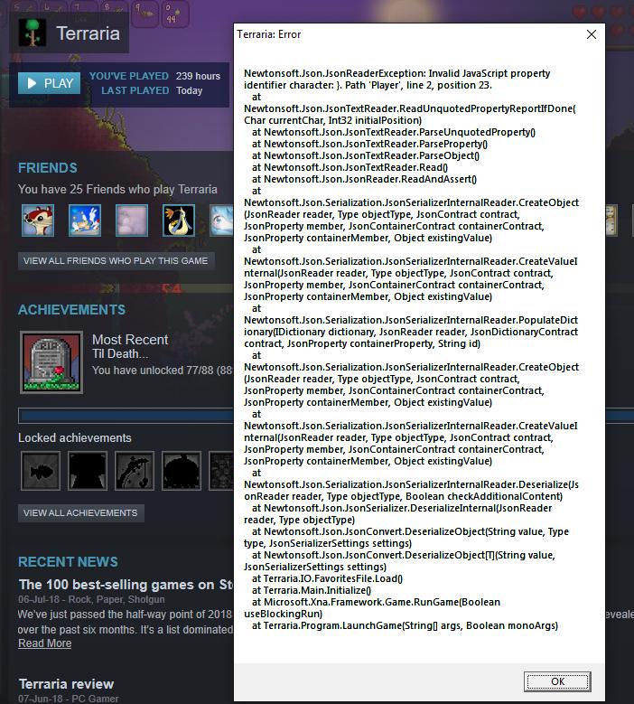 PC - Terraria crashing upon launch, displays error on