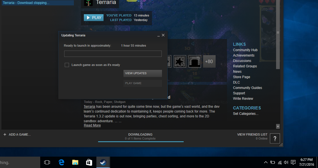 Resolved - [Pictures] Terraria won\u0027t finish its download | Terraria