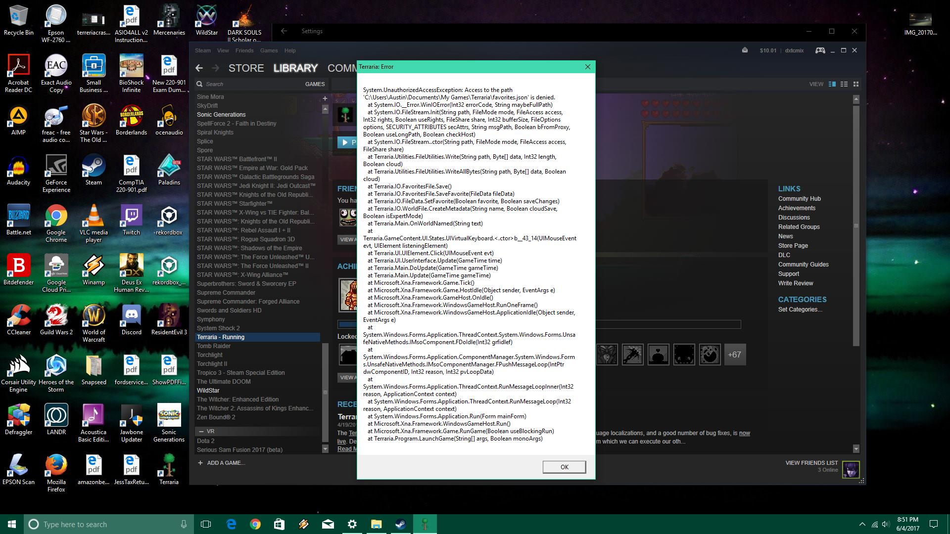 Terraria 1 3 5 on Steam Crashes (Windows 10 Creators Update x64