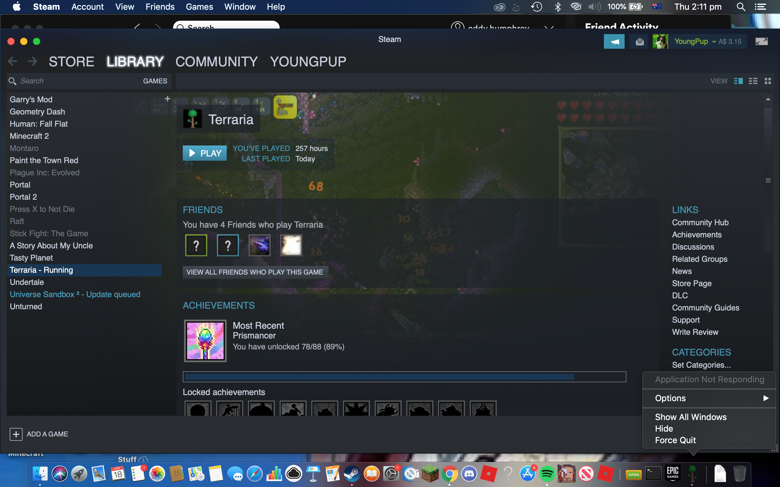 Mac - When I open Terraria on Steam, It'd say